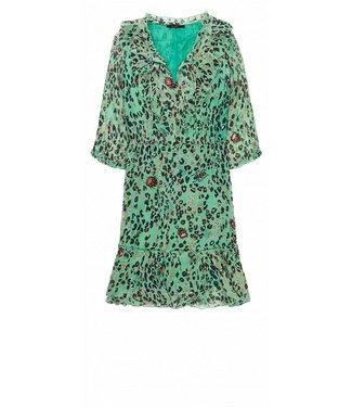 10 Feet 10 Feet Sheer Animal Printed Knee Length Dress Ruffled Emerald