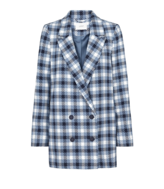 Just Female Just Female Holmes Blue Check Blazer Mid Blue Check