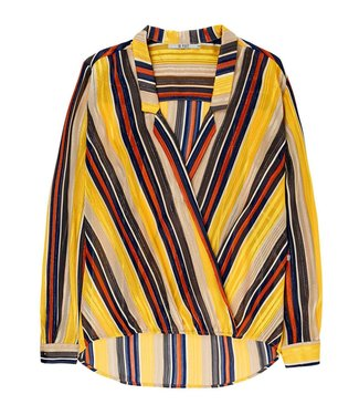 10 Feet 10 Feet Crossover Blouse Sheer Stripe Chiffon Subtle Lurex Amber