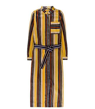 10 Feet 10 Feet Long Shirt Dress Sheer Stripe Chiffon Subtle Lurex Amber