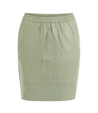 Coster Copenhagen Coster Copenhagen Leather Skirt Elastic in Waist Crystal Green B4514