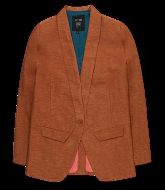 10 Feet 10 Feet Tailored Blazer In Shiny Linen Blend Cinnamon
