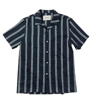 Native North Native North Striped Silk Shirt Navy