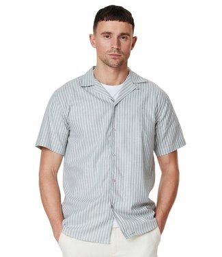 Les Deux Les Deux Simon Linen Shirt SS Light Grey/Petrol Blue