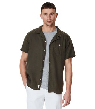 Les Deux Les Deux Laurent Tencel SS Shirt Dark Green