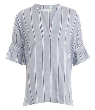 Coster Copenhagen Coster Copenhagen Shirt With Stripes And Tieband Snow Blue