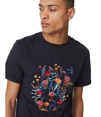 Les Deux Les Deux Fleur D'été T-shirt Dark Navy/Dark Papaya Flower Pattern
