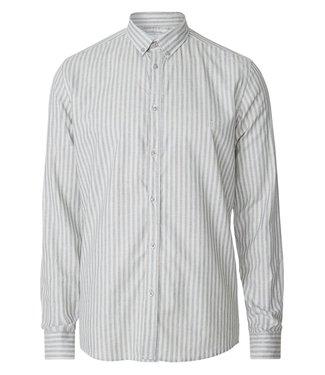 Les Deux Les Deux Simon Linen Shirt Light Grey Melange/Petrol Blue