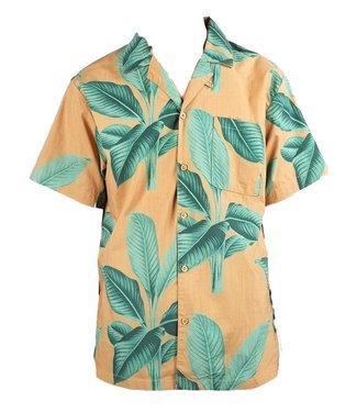 Dedicated Dedicated Shirt Short Sleeve Khaki Leaves Green
