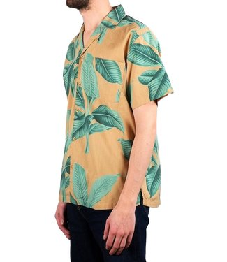 Dedicated Dedicated Shirt Short Sleeve Khaki Leaves Green