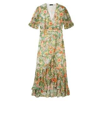 Alix Alix Ladies Woven Botanical Wrap Dress Faded Army