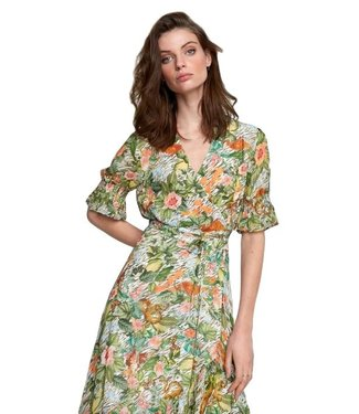 Alix Alix Ladies Woven Botanical Wrap Dress Faded Army