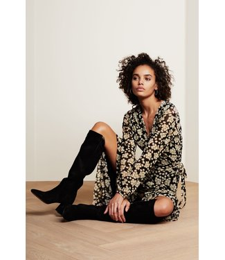 Fabienne Chapot Fabienne Chapot Natasja Frill Dress Black/Oatmeal Blossom
