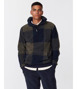 Les Deux Les Deux Conner Check Fleece Hoodie Dark Navy/ Turtle Green