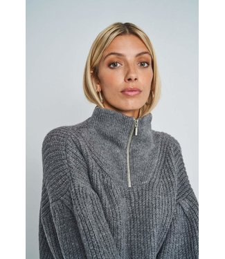 Native Youth Native Youth Kara Zip Funnel Neck Jumper Grey