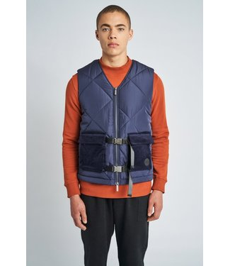 Native Youth Native Youth Men Logan Puffer Gilet With Corduroy Navy