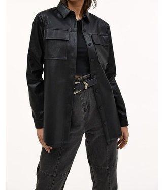 Roots Fashion Roots Fashion Oversized PU Leren Blouse Black