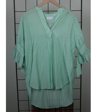 Coster Copenhagen Coster Copenhagen Top Tieband At Sleeves Aqua Mint Checks