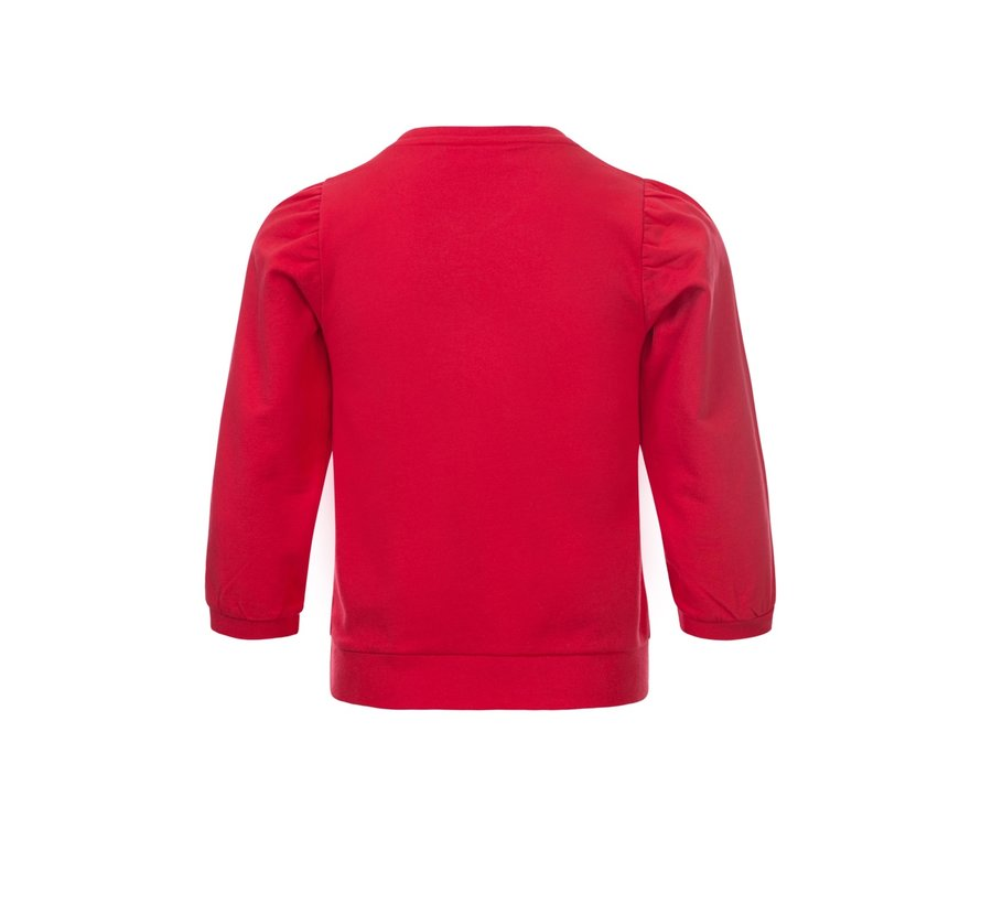 Red sweater with puff sleeve