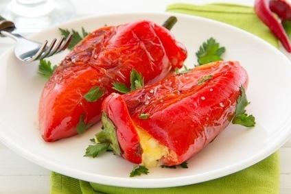 Geroosterde paprika met omelet
