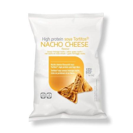 Proteinerijke tortilla chips met nacho cheese smaak