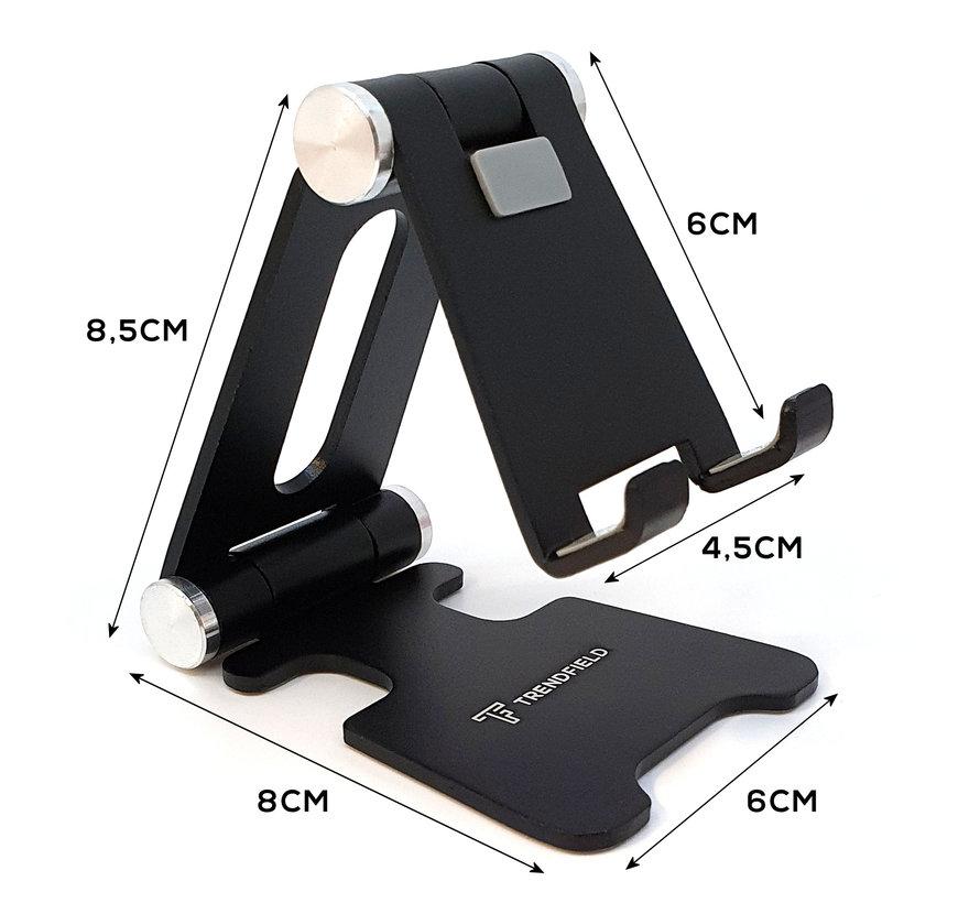 Telefoon & Kleine Tablet Houder - Opvouwbaar - Inklapbare iPhone Standaard voor Tafel of Bureau TTH80