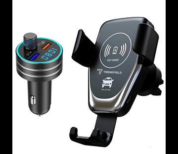 Trendfield FM Transmitter Bluetooth Carkit + Telefoonhouder Auto Draadloos Opladen