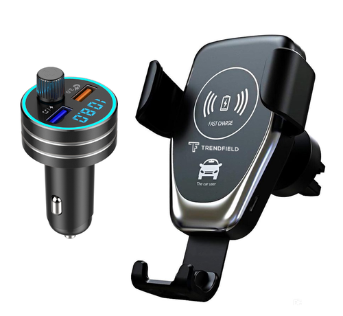 Trendfield Trendfield FM Transmitter + Telefoonhouder Auto Draadloze Oplader - Bluetooth Carkit voor Muziek – Compleet Pakket