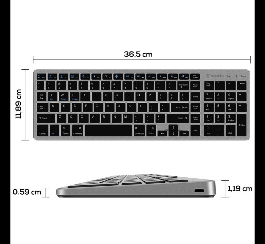 Trendfield Draadloos Toetsenbord met Muis Bluetooth - Oplaadbaar - Geruisloos - Zwart - Copy - Copy