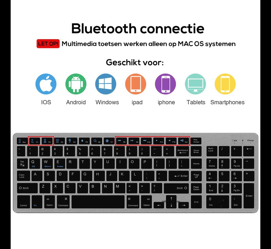 Trendfield Draadloos Toetsenbord met Muis Bluetooth - Oplaadbaar - Geruisloos - Zwart