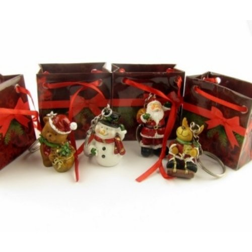 Doos 24 stuks kerst sleutelhangers met gratis kaartjes