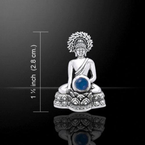 Boeddha zilver met een steentje