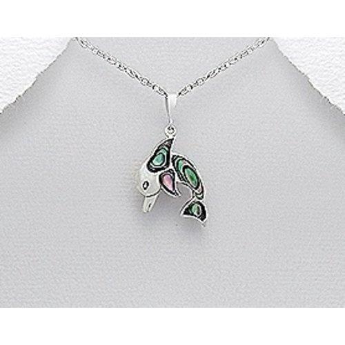 Dolfijn hanger zilver met schelp