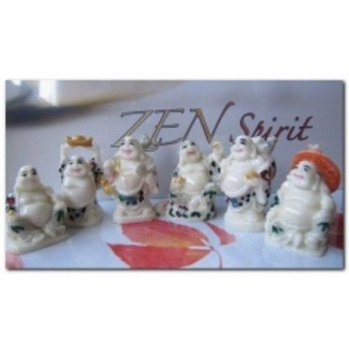 Boeddha setje van 6 wit gekleurde boeddha's
