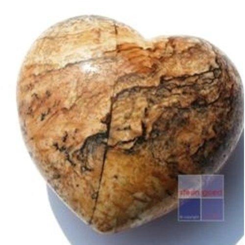 Edelsteen hart jaspis picture 4 cm gebold