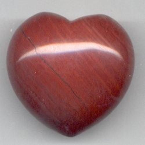 Edelsteen hart jaspis rood 4 cm gebold