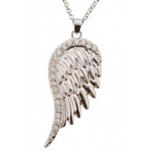Engel vleugel zilverkleurig aan ketting