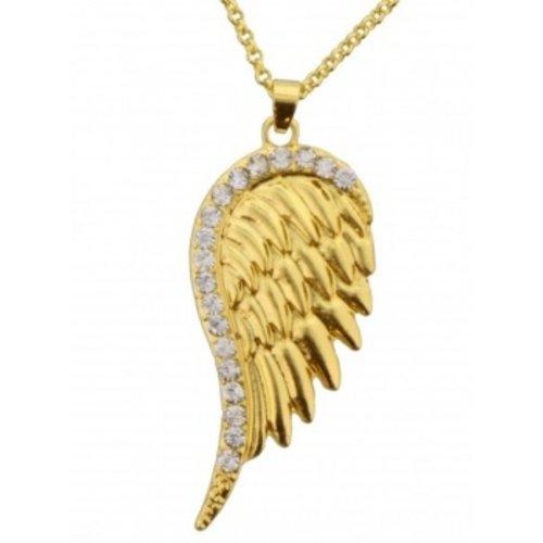 Engel vleugel goudkleurig aan ketting