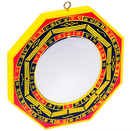 Bagua spiegel hout (bolle spiegel)