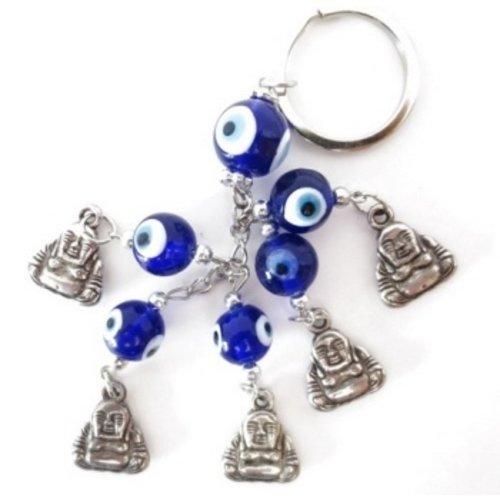 Blauwe boze oog sleutelhanger boeddha