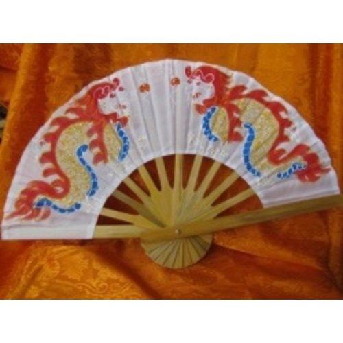 Chinese waaier met draak wit