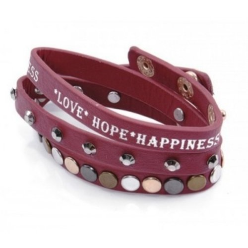Armband Love Hope Happiness bordeau rood