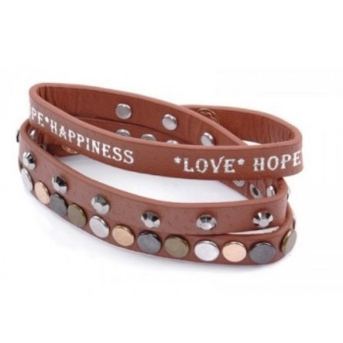 Armband Love Hope Happiness bruin