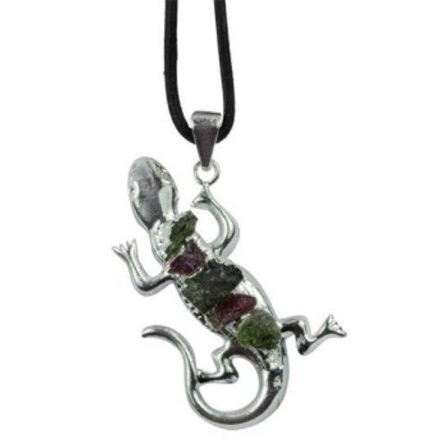 Hanger gecko met tourmalijn steentjes