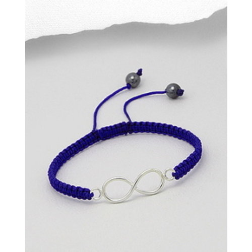Armband blauw koord Lemniscaat