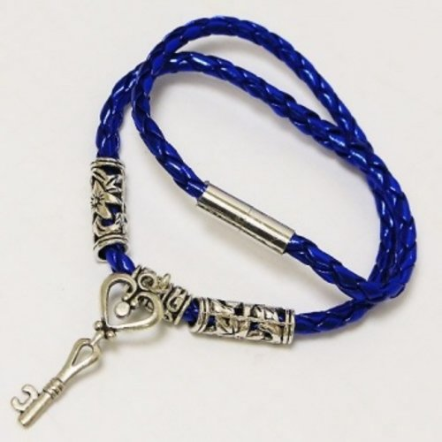Armband blauw met sleutel