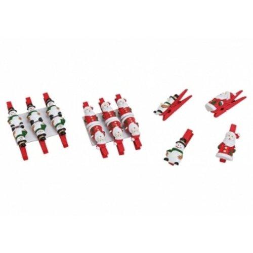 6 Kerstknijper kerstman-sneeuwman