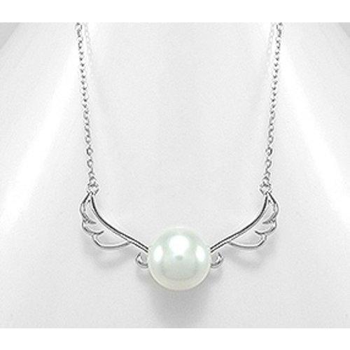 Halsketting zilver engelvleugel met parel