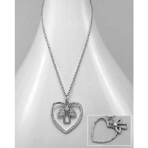 Collier zilver hart met engel