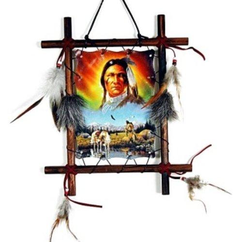Dromenvanger indiaan in houten frame
